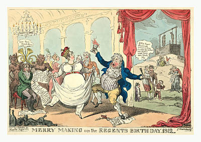 Merry Making On The Regents Birth Day, 1812, Cruikshank Art Print by Litz Collection