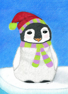 Merry O' Penguin Art Print