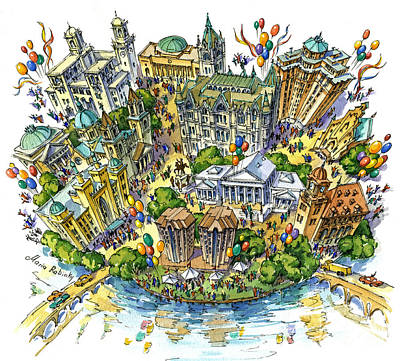 Downtown Drawing - Merry Richmond by Maria Rabinky