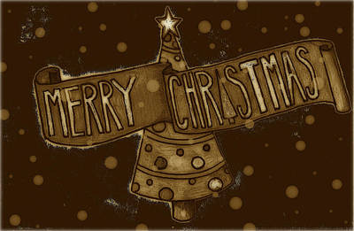 Drawing - Merry Sepia Christmas by Jame Hayes
