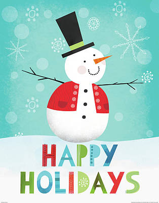 Black Top Painting - Merry Snowman I by Lamai Mccartan