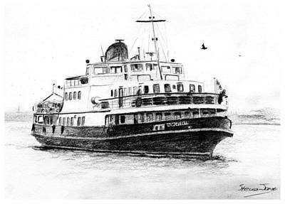 Drawing - Mersey Ferry by Steve Jones