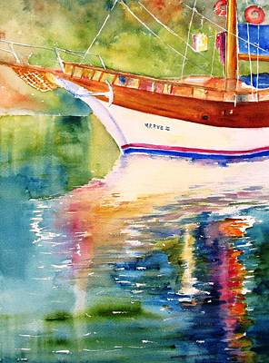 Painting - Merve II Gulet Yacht Reflections by Carlin Blahnik
