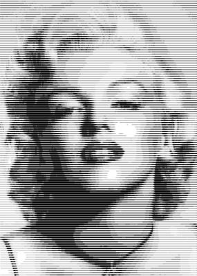 Digital Art - Marilyn Bw Horizontal Lines by Samuel Majcen