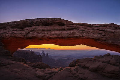 Glowing Photograph - Mesa Arch Before Dawn by Andrew Soundarajan