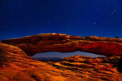 Photograph - Mesa Arch Night Sky With Shooting Star by Greg Norrell