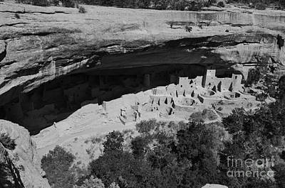 Mesa Verde National Park Cliff Palace Anasazi Ruin Black And White Art Print