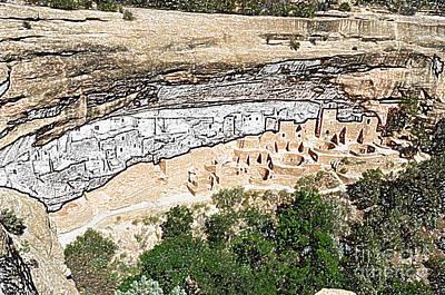 Scenics Digital Art - Mesa Verde National Park Cliff Palace Anasazi Ruin Colored Pencil by Shawn O'Brien