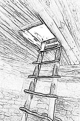 Digital Art - Mesa Verde National Park Spruce Tree House Kiva Ladder Black And White Line Art by Shawn O'Brien