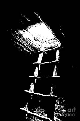 Digital Art - Mesa Verde National Park Spruce Tree House Kiva Ladder Black And White Stamp by Shawn O'Brien