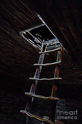 Digital Art - Mesa Verde National Park Spruce Tree House Kiva Ladder Glowing Edges by Shawn O'Brien