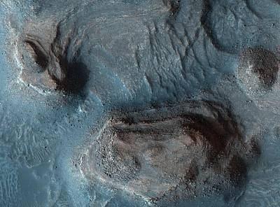 Glister Painting - Mesas In The Nilosyrtis Mensae Region Of Mars by Celestial Images