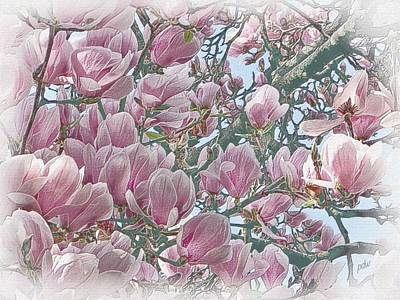 Garden Scene Mixed Media - Meshprint Magnolia by Philip White
