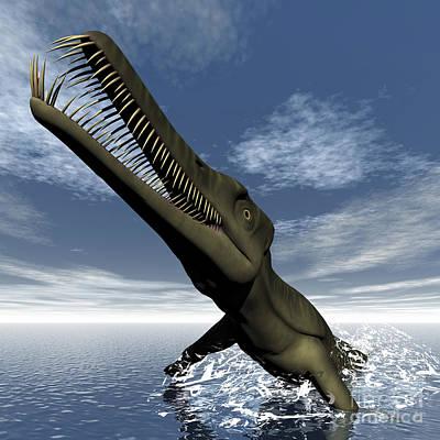 Crocodile Digital Art - Mesosaurus Dinosaur Jumping by Elena Duvernay