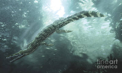 One Animal Digital Art - Mesosaurus Hunting For Food Underwater by Jan Sovak