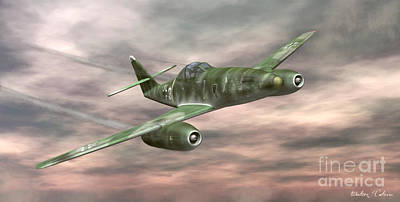 Digital Art - Messerschmitt Me-262 by Walter Colvin