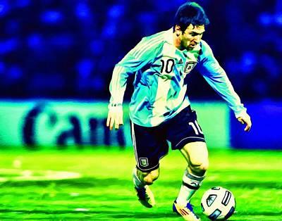 Messi Soccer Football Art Landscape Painting  Art Print