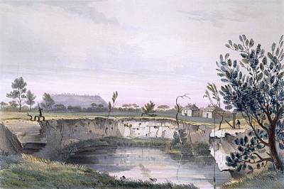 Rural Landscapes Drawing - Messrs Arthurs Sheep Station, With One by George French Angas