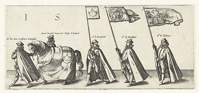 Marquette Drawing - Messrs Jan Bax Van Heusden, Dierick Duvoorde, Bailiff by Hendrick Goltzius