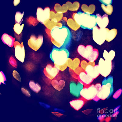 Photograph - Messy And Colorful Bokeh Hearts With Vintage Feel II by Beverly Claire Kaiya