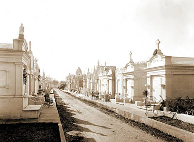 Metairie Cemetery, New Orleans, Louisiana, Tombs & Print by Litz Collection