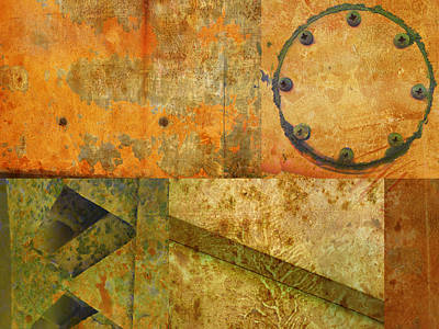 Photograph - Metal Abstract Collage by Ann Powell