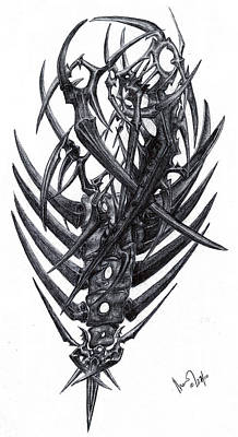 Drawing - Metal And Bones by Mike Sangh