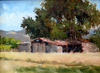 Metal Barns With Oak Tree Original by Char Wood