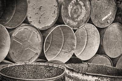 Petrol Green Photograph - Metal Barrels 2bw by Rudy Umans