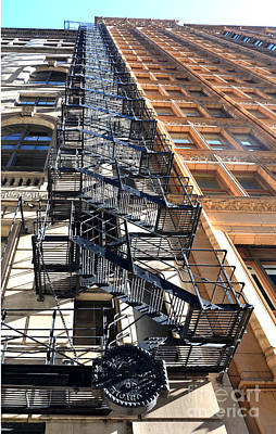 Wall Art - Photograph - Metal Fire Escape In Chicago by Susan Montgomery
