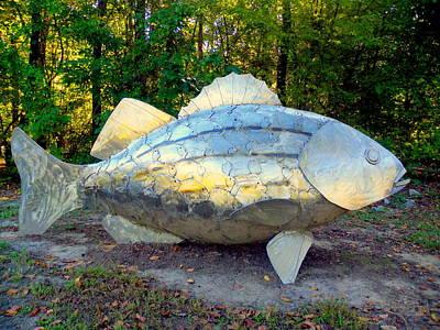 Saluda Photograph - Metal Fish On Fish by Lisa Wooten