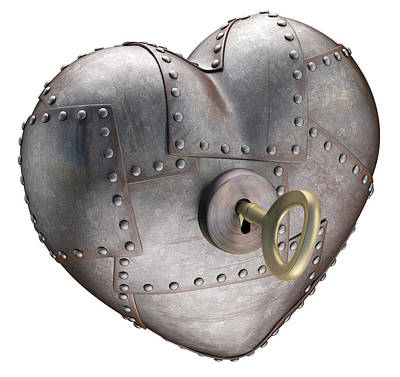 Rivets Photograph - Metal Heart With Key by Ktsdesign