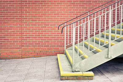 Brick Building Photograph - Metal Stairs by Tom Gowanlock