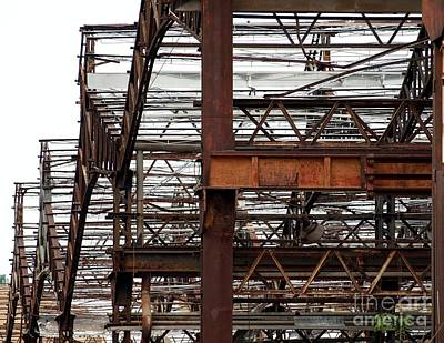 Iron Wire Photograph - Metal Structure Of A Deserted Factory by Yali Shi