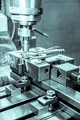 Drill Presses Photograph - Metal Tooling Shop Floor by Photostock-israel