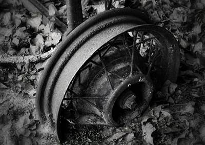 Photograph - Metal Wheel In Black And White by Nadalyn Larsen