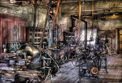 Metal Worker - Belts And Pullies Art Print by Mike Savad