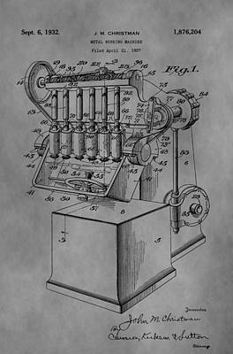 Machinery Drawing - Metal Working Machine by Dan Sproul