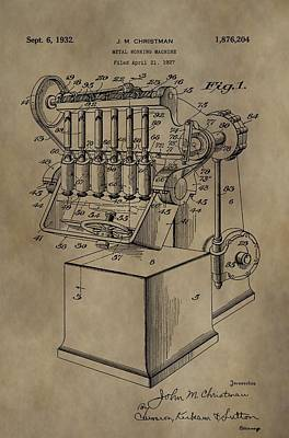 Machinery Mixed Media - Metal Working Machine Patent by Dan Sproul