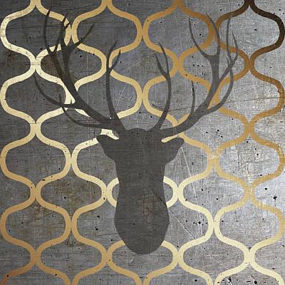 Gold Metallic Digital Art - Metallic Deer Nature by Andi Metz