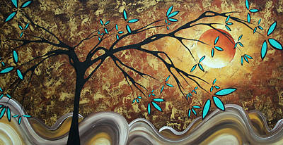 Metallic Gold Textured Original Abstract Landscape Painting Apricot Moon By Madart Art Print by Megan Duncanson