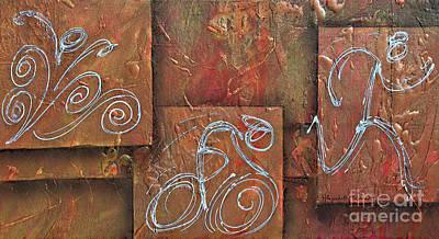 Ironman Painting - Metallic Orange Triathlon Panels by Alejandro Maldonado