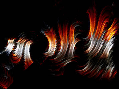 Art Print featuring the digital art Metallic Swirls by Lea Wiggins