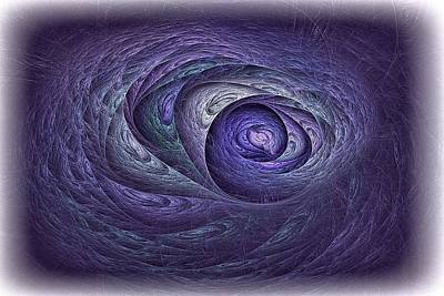 Food And Flowers Still Life - Metallic Violet Fractal Descent by Doug Morgan
