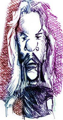 Musicians Drawings - Metallicas James Hetfield by Del Gaizo