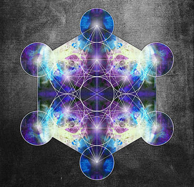 Metatron's Cube Blue Art Print