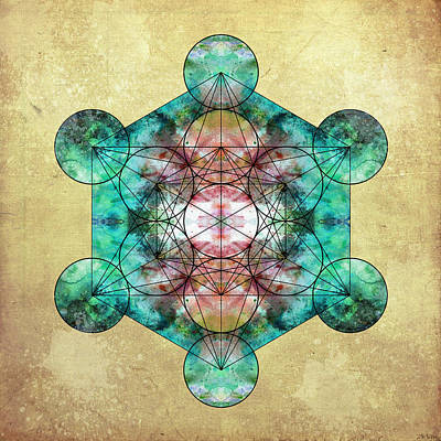 Flower Of Life Digital Art - Metatron's Cube by Filippo B