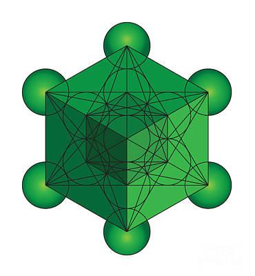 Metatron's Cube In Green Art Print