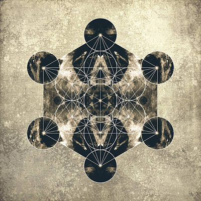 Metatron's Cube Silver Art Print by Filippo B