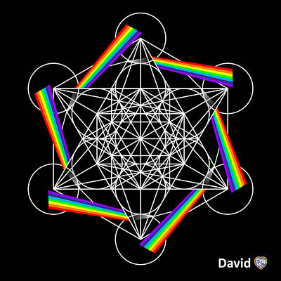 Digital Art - Metatron's Rainbow Healing Cube by David Diamondheart